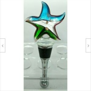 """Other - Blue Gray Green Glass Star Wine Stopper Cork 4.5"""""""